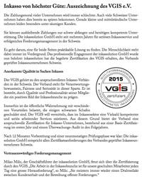 Zertifizierung durch den VGIS e.V.